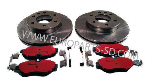2 Rear Disc Rotors Brake Sensor Pad Set Kit For Freightliner Mercedes Sprinter